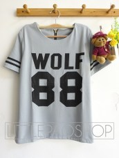 Thick Wolf Baseball Top(Grey) - ecer@68rb - seri4w 252rb - wedges prada - fit to L