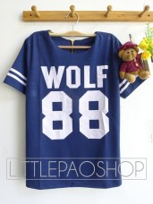 Thick Wolf Baseball Top(Navy) - ecer@68rb - seri4w 252rb - wedges prada - fit to L