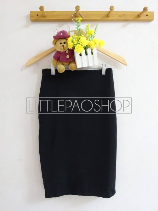 Black Pencil Midi Skirt - ecer@65rb - seri4pcs 240rb - wedges - fit to L