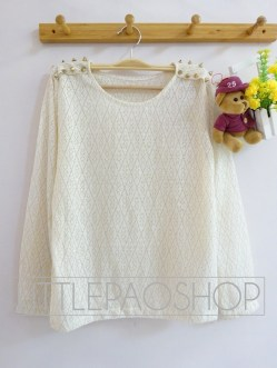 Goldie Studded Top (white) - ecer@88rb - seri4pcs(2cream 2white) 332rb - rajut - fit to L