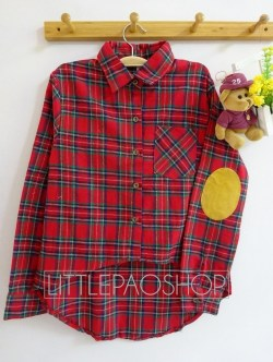 HiLo Patch Flannel Shirt (red) - ecer@80rb - seri4pcs(2red 2navy) 300rb - flanel - fit to L