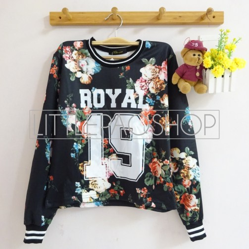 IMPORT - 19 Royal Flowery Top (black) - ecer@90rb - seri3w 255rb - wedges print - fit to L