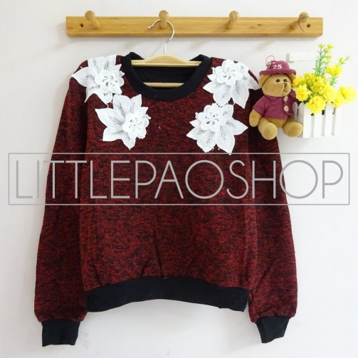 IMPORT - Neck Floral Lacey Sweater (red) - ecer80rb - seri3w 225rb - renda+wool - fit to L