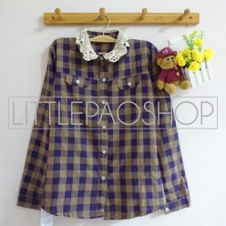 Lazy Collar Plaid Shirt (navy) - ecer@70rb - seri4w 260rb - katun bangkok - fit to L