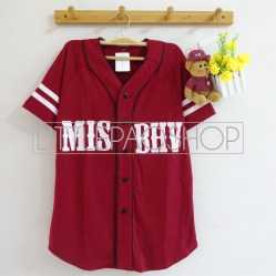 MISBHV Baseball Shirt (maroon) - ecer@60rb - seri4w 220rb - spandex rayon - fit to L