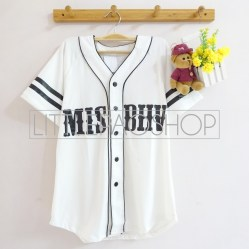 MISBHV Baseball Shirt (white) - ecer@60rb - seri4w 220rb - spandex rayon - fit to L