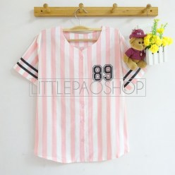Pastel Baseball Tee With Buttons (pink) - ecer@62rb - seri4w 232rb - katun - fit to L
