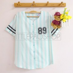 Pastel Baseball Tee With Buttons (tosca) - ecer@62rb - seri4w 232rb - katun - fit to L