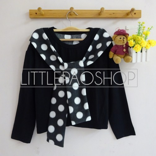 Polka Shawl LongSleeve Top (black) - ecer@55rb - seri4w 200rb - spandex + beludru - fit to L