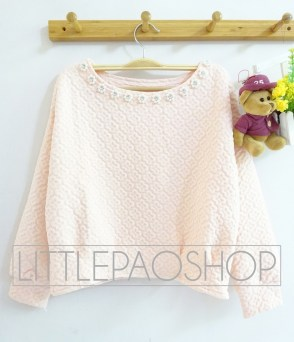 Royal Emboss Sweater (pink) - ecer@75rb - seri4w 280rb - wedges emboss+aplikasi mutiara - fit to L
