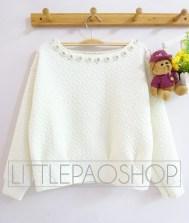 Royal Emboss Sweater (white) - ecer@75rb - seri4w 280rb - wedges emboss+aplikasi mutiara - fit to L