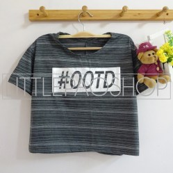 Stripe OOTD Crop Tee (grey) - ecer@52rb - seri4w 192rb - kaos stripe glitter - fit to L