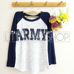 ARMY Raglan Tee (navy) - ecer@58rb - seri4w 212rb - wedges tekstur+spandex - fit to L