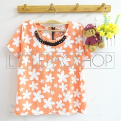Hawaiian Necklace Top (orange) - ecer@63rb - seri4w 232rb - wedges tekstur+kalung - fit to L