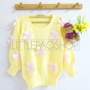 [IMPORT] 3D Flowers Knit Sweater (yellow) - ecer@110rb - seri5w 525rb - rajut tebal - fit to L