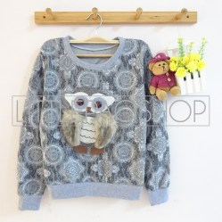 IMPORT - Antique Derpy Owl (grey) - ecer@85rb - seri3w 240rb - babyterry dgn tekstur unik - fit to L