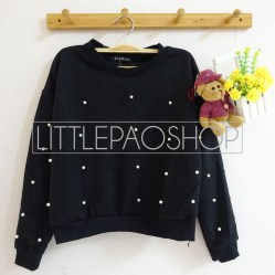 [IMPORT] Pearl All Over Sweater - ecer@85rb - seri4pcs(2black2white) 320rb - wedges pillow+aplikasi mutiara - fit to L