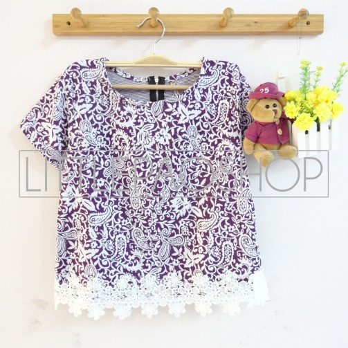 IMPORT - Sekar Lacey Top (purple) - ecer@70rb - seri6w 390rb - wedges velvet tesktur + renda - fit to L
