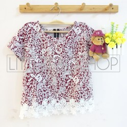 IMPORT - Sekar Lacey Top (red) - ecer@70rb - seri6w 390rb - wedges velvet tesktur + renda - fit to L