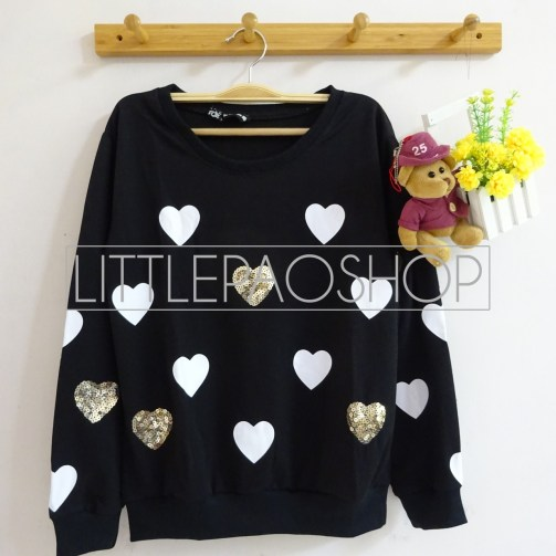 [IMPORT] Sparkles and Love Sweater (black) - ecer@80rb - seri4w 300rb - babyterry+aplikasi borci - fit to L