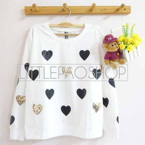 [IMPORT] Sparkles and Love Sweater (white) - ecer@80rb - seri4w 300rb - babyterry+aplikasi borci - fit to L