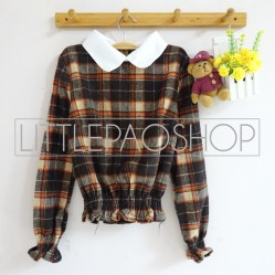IMPORT - Victorian Collar Shirt (brown) - ecer@85rb - flanel - fit to L