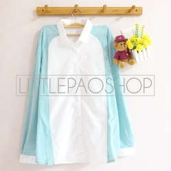 Juliette Pastel Loose Shirt (blue) - ecer@75rb - seri6w 420rb - cotton+knit halus - fit to L