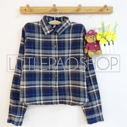 Luna Crop Flanel Shirt (navy) - ecer@85rb - seri4pcs(2red2navy) 320rb - flanel - fit to L