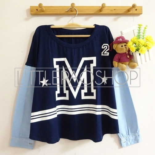 M Denim Longsleeve (navy) - ecer@65rb - seri4pcs(2navy2white) 240rb - spandex+denim - fit to L