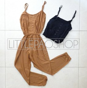 Basic Jumpsuit - ecer@70rb - seri4pcs(2black 2brown) 260rb - katun - fit to L