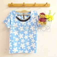 Hawaiian Necklace Top (blue) - ecer@58rb - seri4w 212rb - wedges tekstur+kalung - fit to L