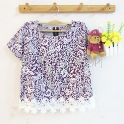 IMPORT - Sekar Lacey Top (purple) - ecer@65rb - seri4w 240rb - wedges velvet tesktur + renda - fit to L