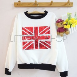 IMPORT - Sparkling UK Sweater (white) - ecer@85rb - seri4pcs(2black2white) 320rb - wedges+aplikasi borci - fit to L