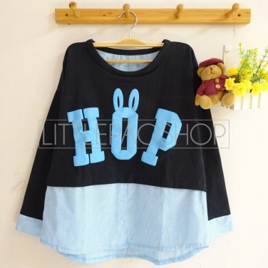Bun HOP Top (blue) - ecer@68rb - seri4w 232rb - babyterry-katun+sablon timbul - fit to L
