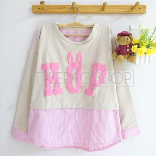 Bun HOP Top (pink) - ecer@68rb - seri4w 232rb - babyterry-katun+sablon timbul - fit to L