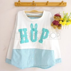 Bun HOP Top (white) - ecer@68rb - seri4w 232rb - babyterry-katun+sablon timbul - fit to L