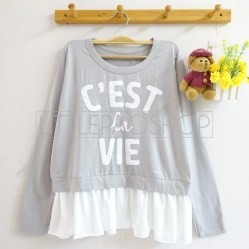 C'est La Vie Top (grey) - ecer@65rb - seri4w 240rb - spandex+twistcone - fit to L