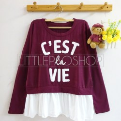 C'est La Vie Top (red) - ecer@65rb - seri4w 240rb - spandex+twistcone - fit to L