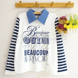 Dictionnaire Français Collar Top (white) - ecer@70rb - seri4pcs(2black2white) - spandex+denim+sablon emboss - fit to L