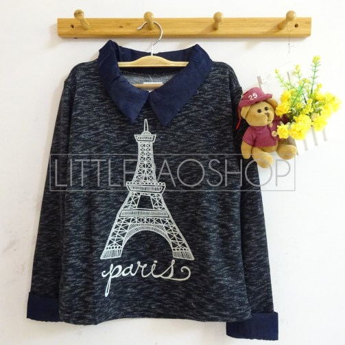 Eiffel Knit Collar Top (black) - ecer@75rb - seri3w 210rb - rajut(termasuk gambar) - fit to L