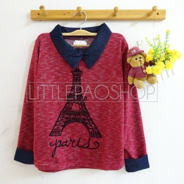 Eiffel Knit Collar Top (red) - ecer@75rb - seri3w 210rb - rajut(termasuk gambar) - fit to L