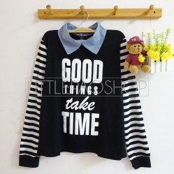 Good Things Take Time Sweatshirt (black) - ecer@65rb - seri4pcs(2w) 240rb - spandex+denim+sablon emboss - fit to L