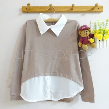HiLo Collar Sweater (choco) - ecer@76rb - seri4w 284rb - babyterry - fit to L