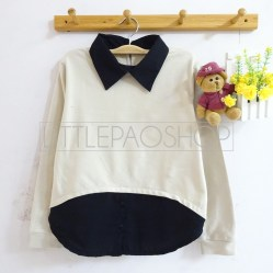 HiLo Collar Sweater (cream) - ecer@76rb - seri4w 284rb - babyterry - fit to L