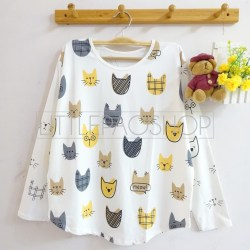 Meow Face Pattern Top (white) - ecer@57rb - seri4w 208rb - spandex - fit to L