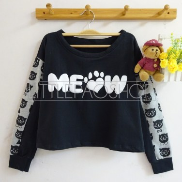 MEOW Face Top (black) - ecer@70rb - seri4pcs(2grey2black) 260rb - babyterry+sablon timbul - fit to L