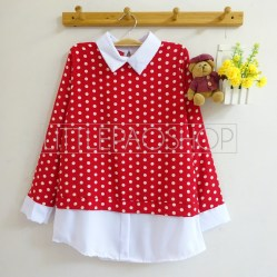 Polka Collar Top (red) - ecer@70rb - seri4w 260rb - twistcone - fit to L