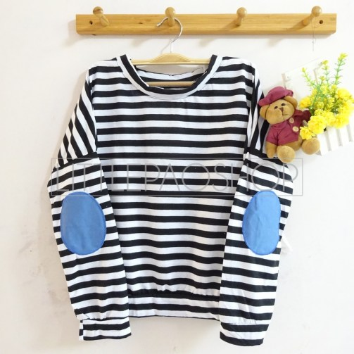 Stripey Elbow Patch Denim (black) - ecer@65rb - seri3w 180rb - kaos+patch denim - fit to L