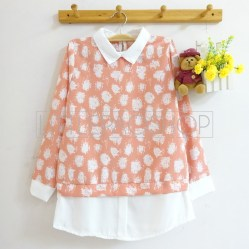 Tangled Thread Collar Top (peach) - ecer@70rb - seri4w 260rb - twistcone - fit to L