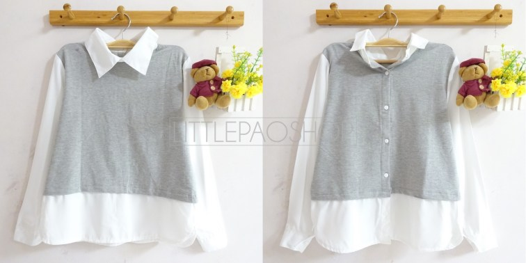 Two Way Fake Vest Collar Top (grey) - ecer@85rb - seri4w320rb - babyterry+twistcone - fit to L(bisa dibolak balik)